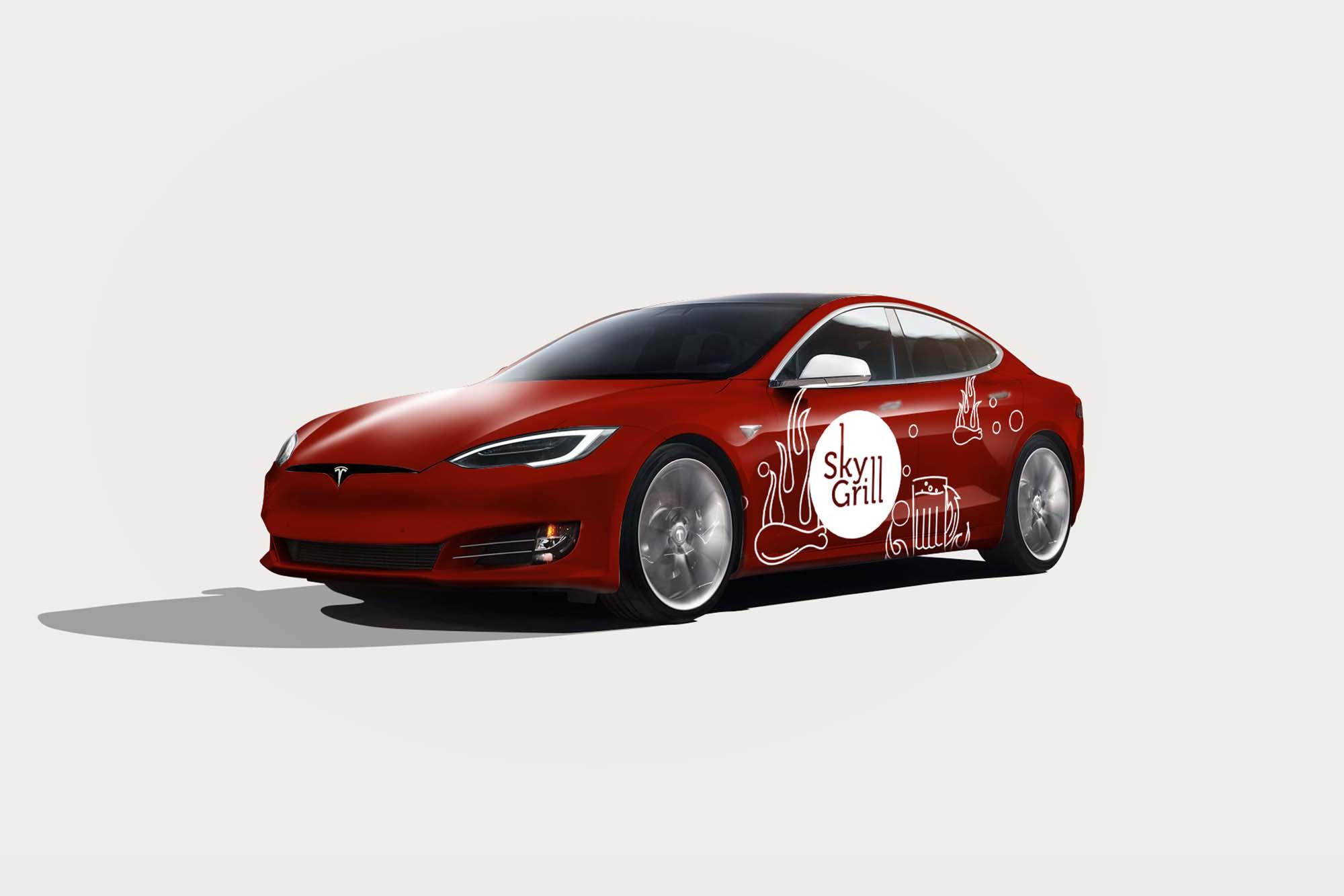 Tesla S Car Branding Mockup 2