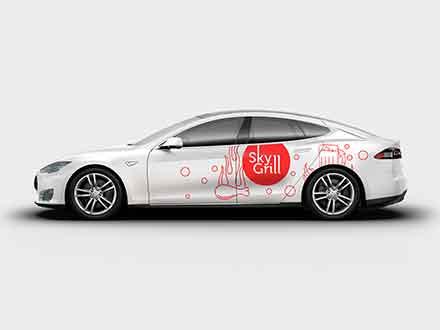 Tesla S Car Branding Mockup