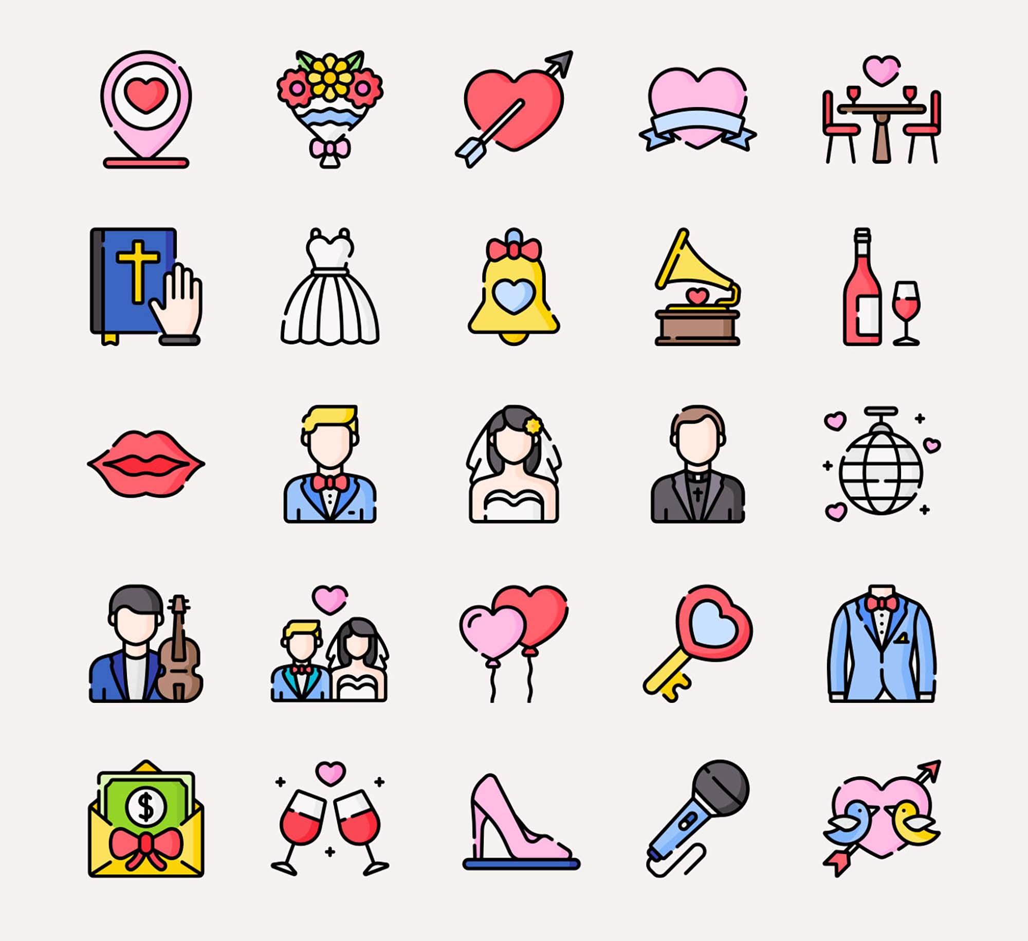 Wedding Vector Icons 3