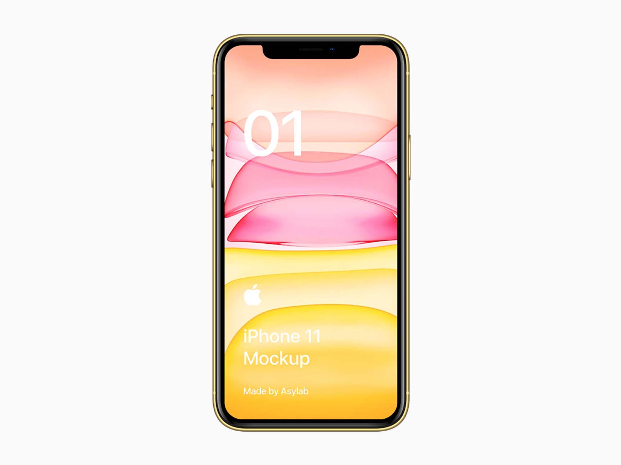 Yellow iPhone 11 Mockup