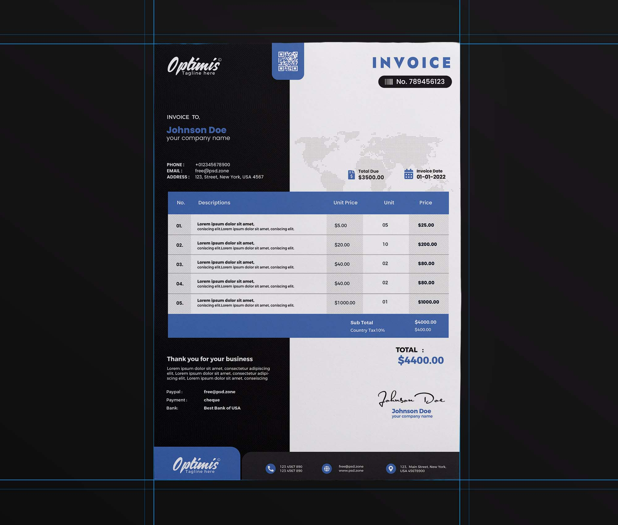 A4 Professional Invoice Template 2