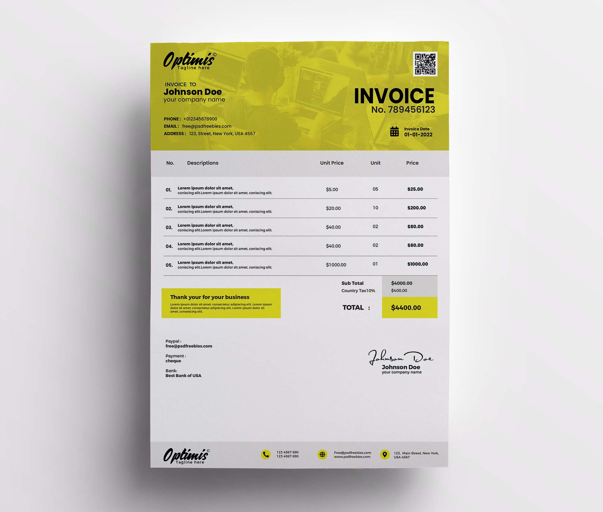 A4 Size Invoice Template