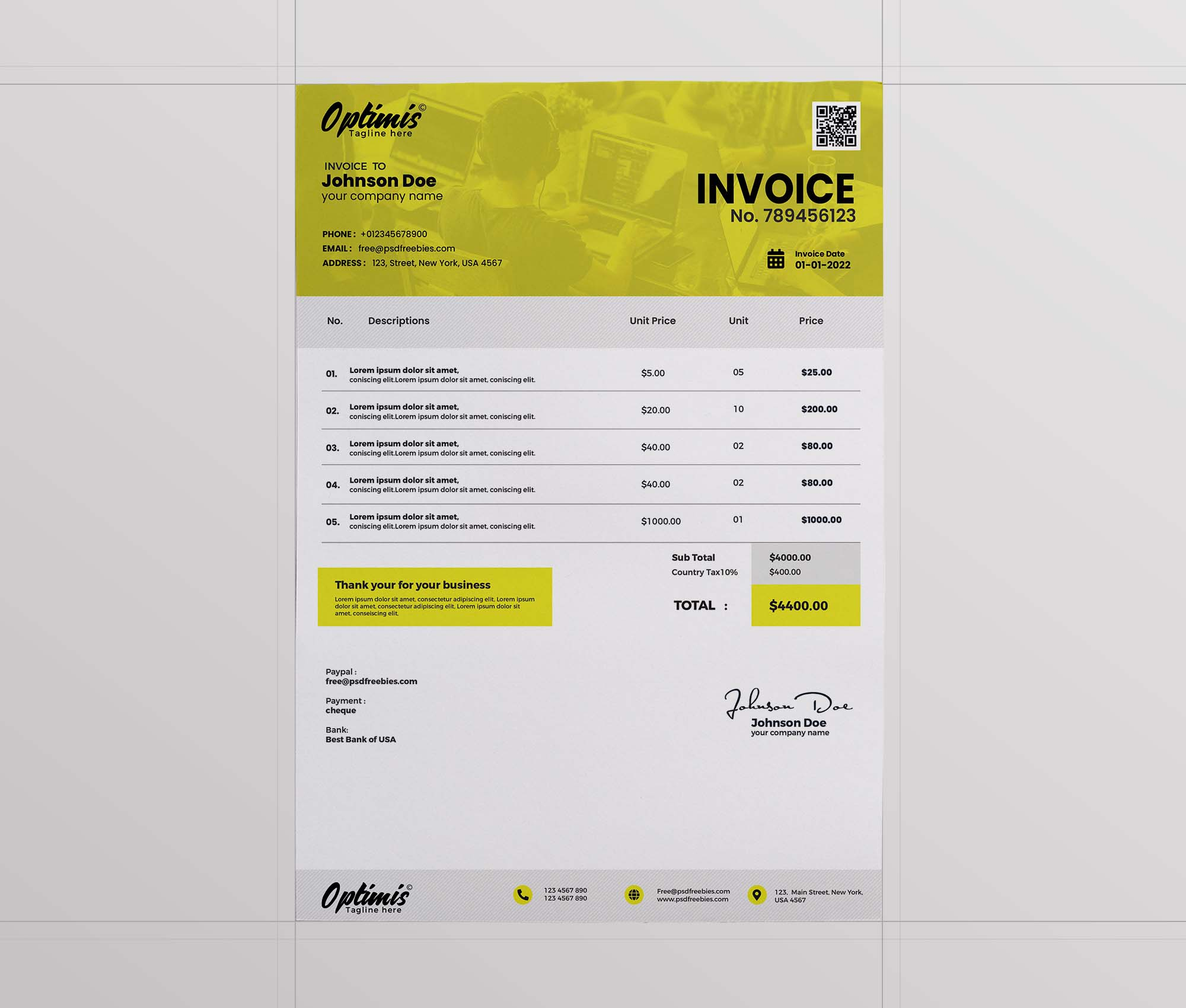 A4 Size Invoice Template 2