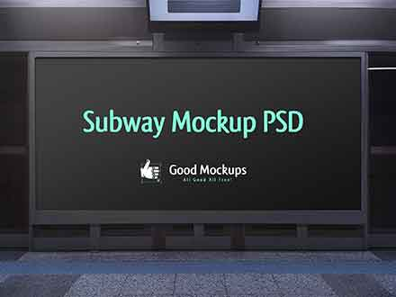Advertising Subway Hoarding Mockup