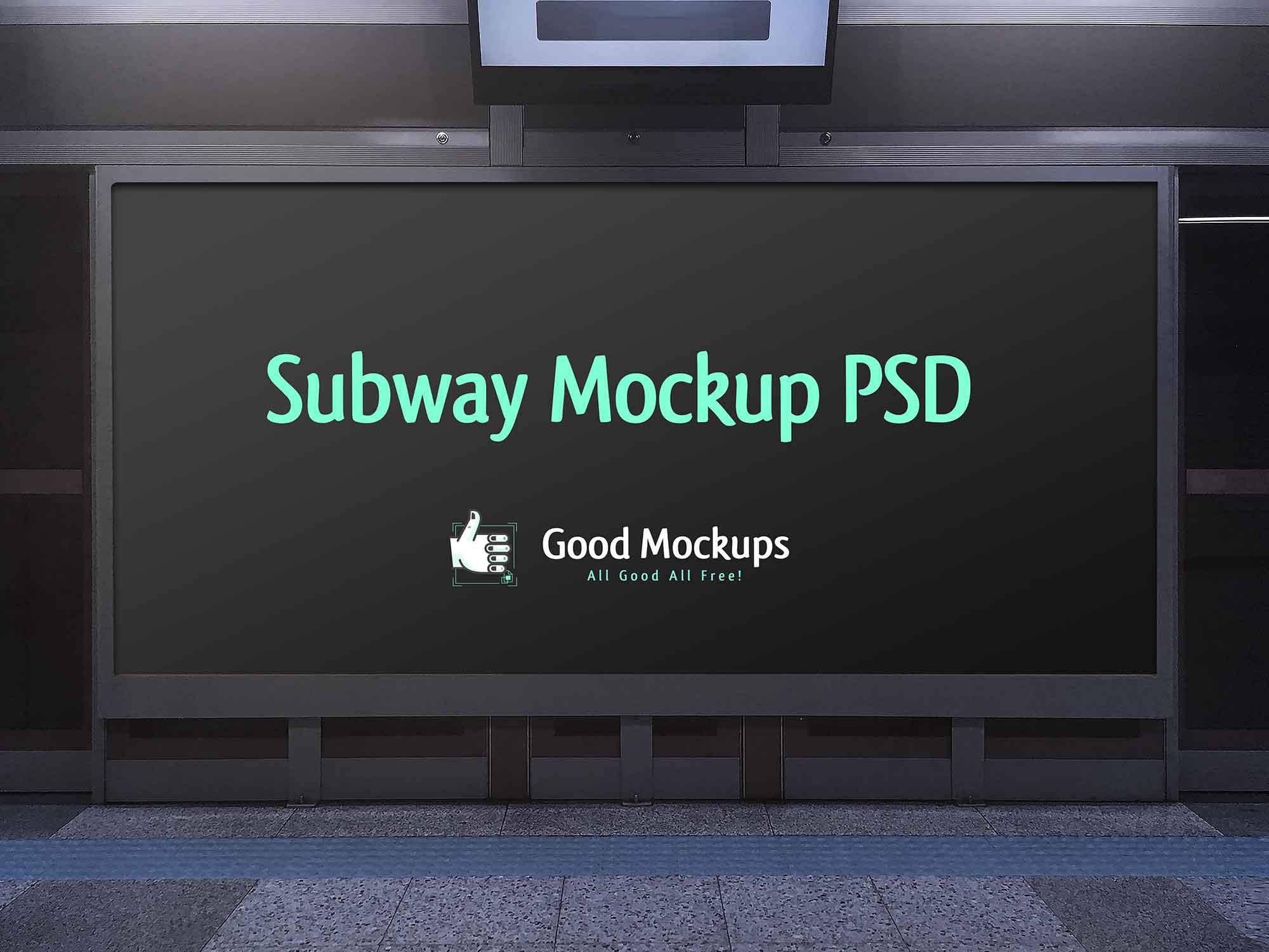 Advertising Subway Hoarding Mockup