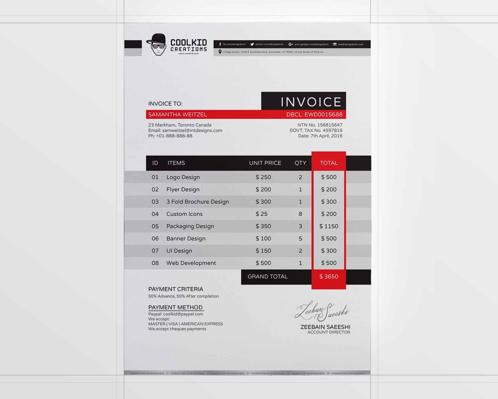 Business Invoice Template 2