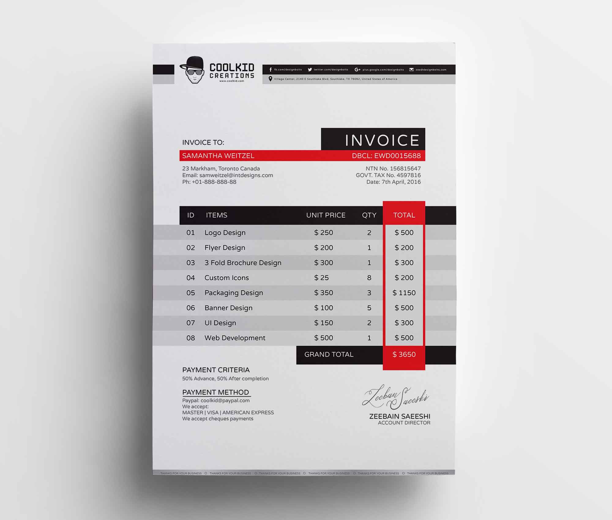 Business Invoice Template