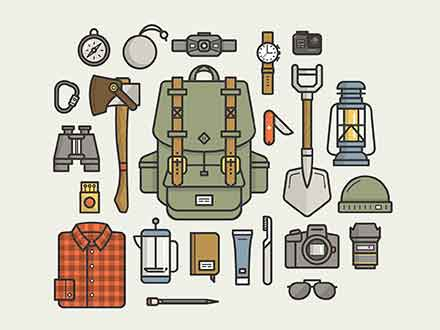 Camping Gear Essentials Illustrations