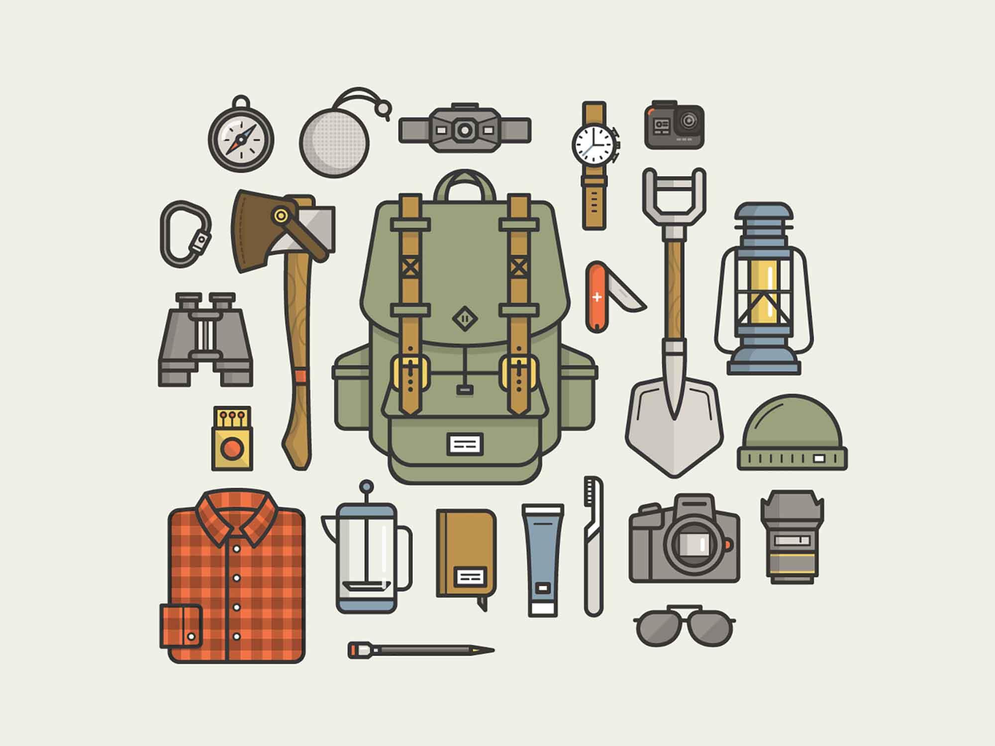 Camping Gear Essentials Illustrations