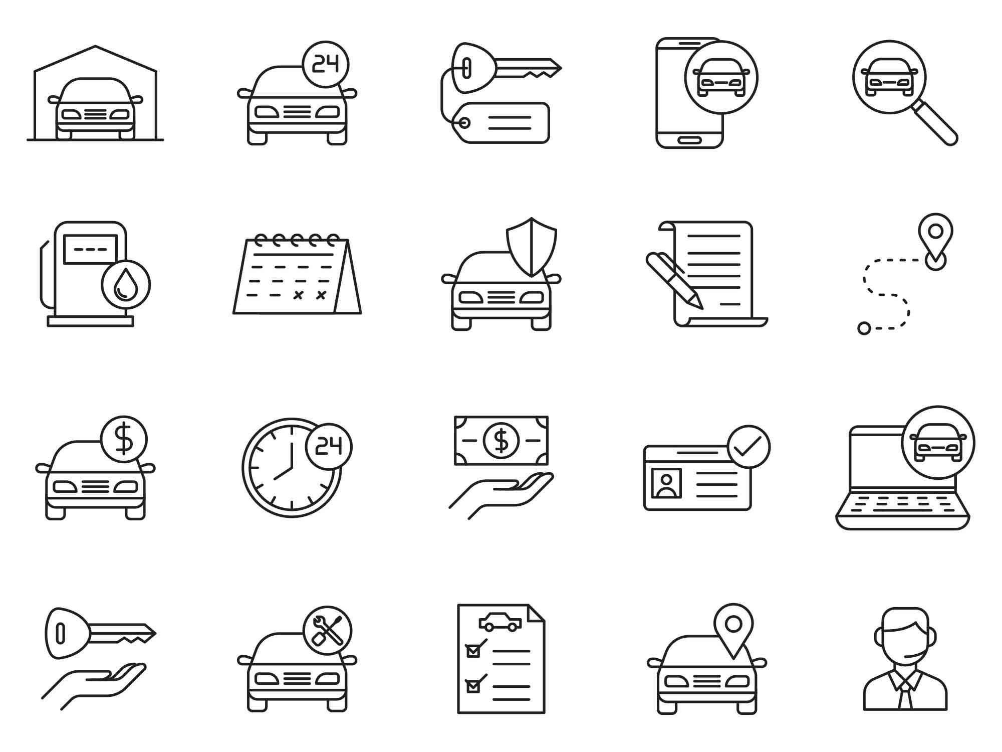 Car Rent Vector Icons