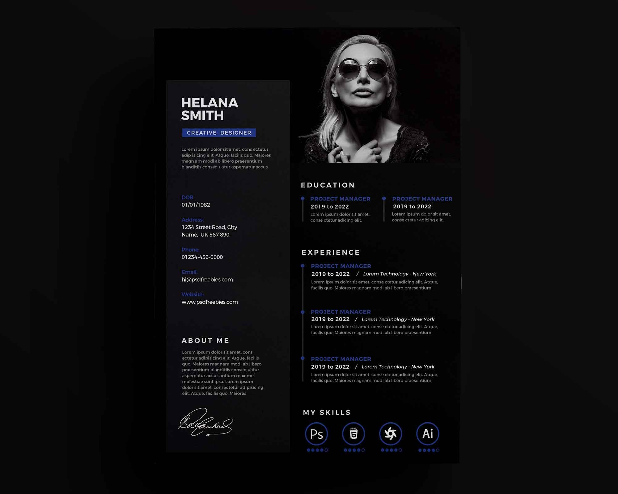 Fresh Dark Resume Template