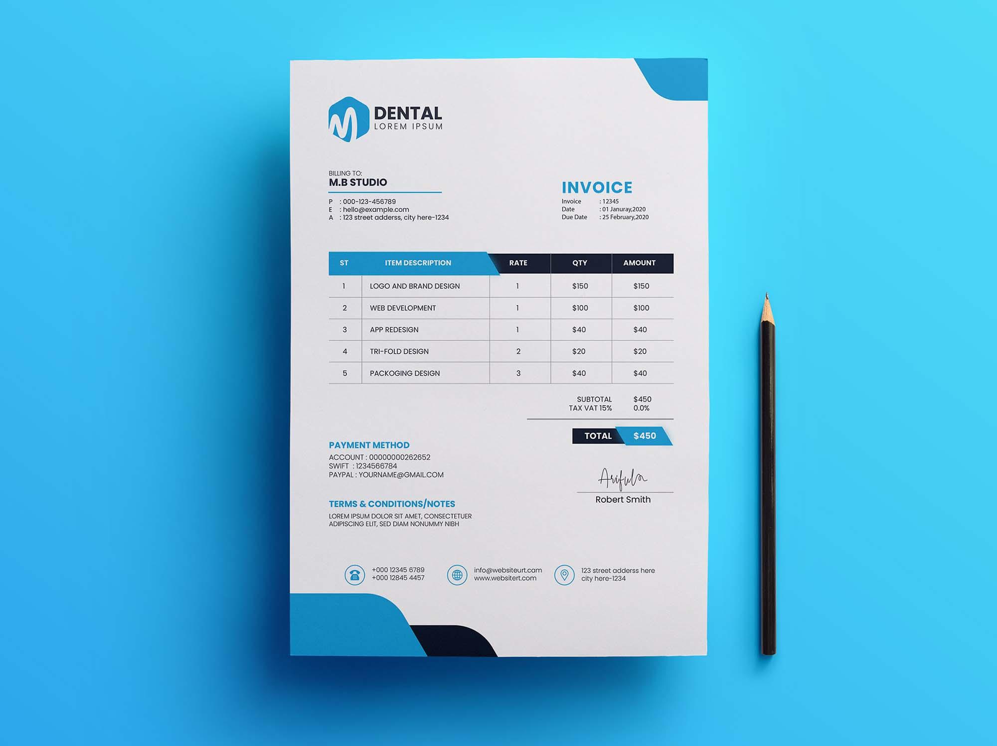 Free Corporate Invoice Template Psd