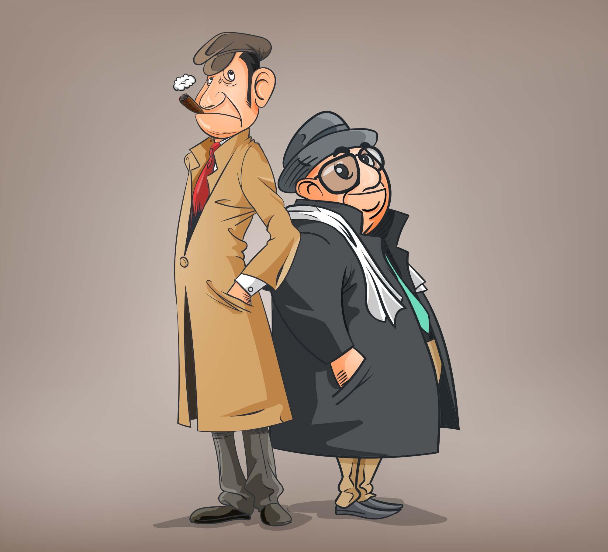 Detectives Cartoon Illustration