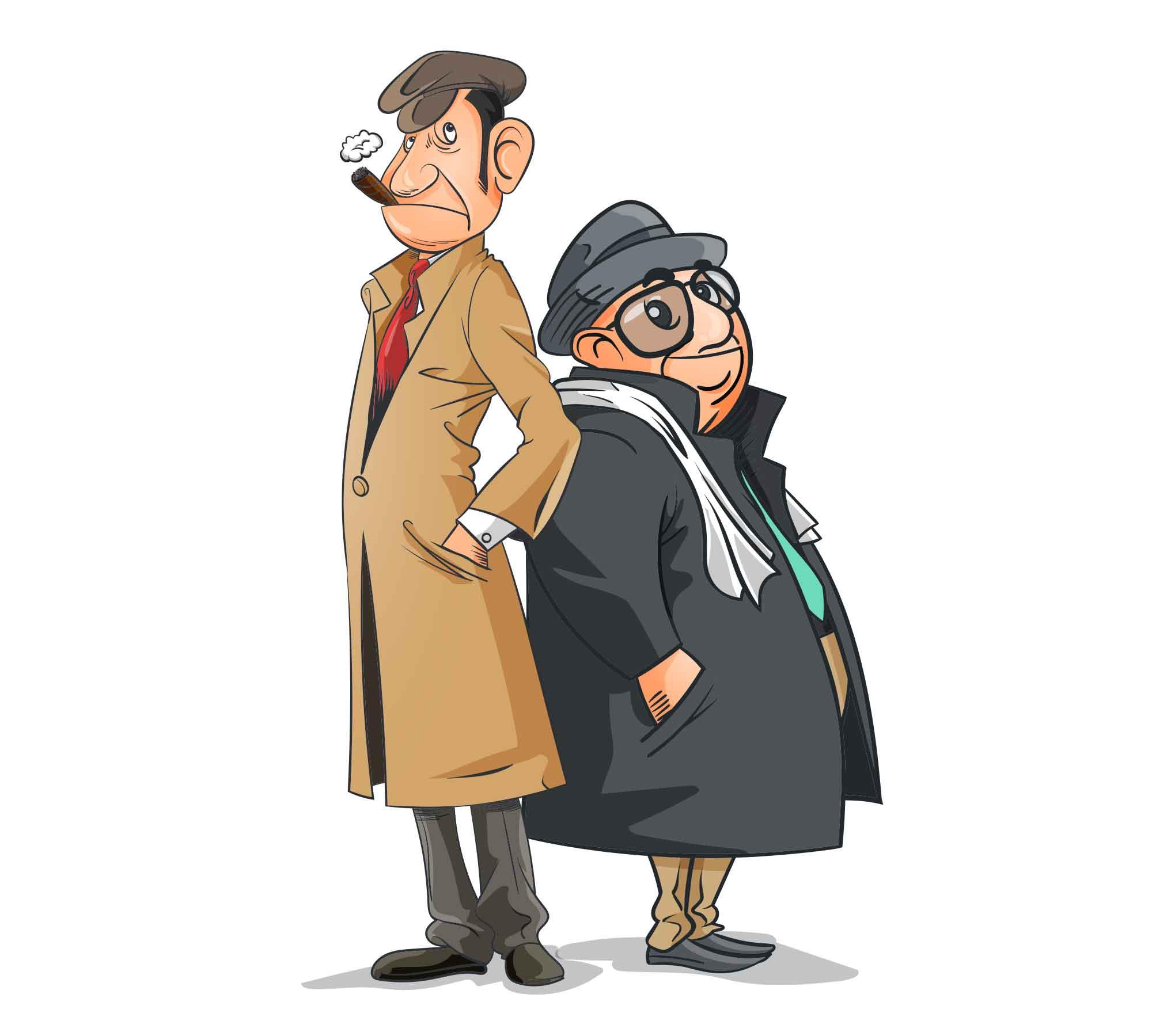 Detectives Cartoon Illustration 2