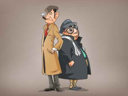Detectives Cartoon Illustration