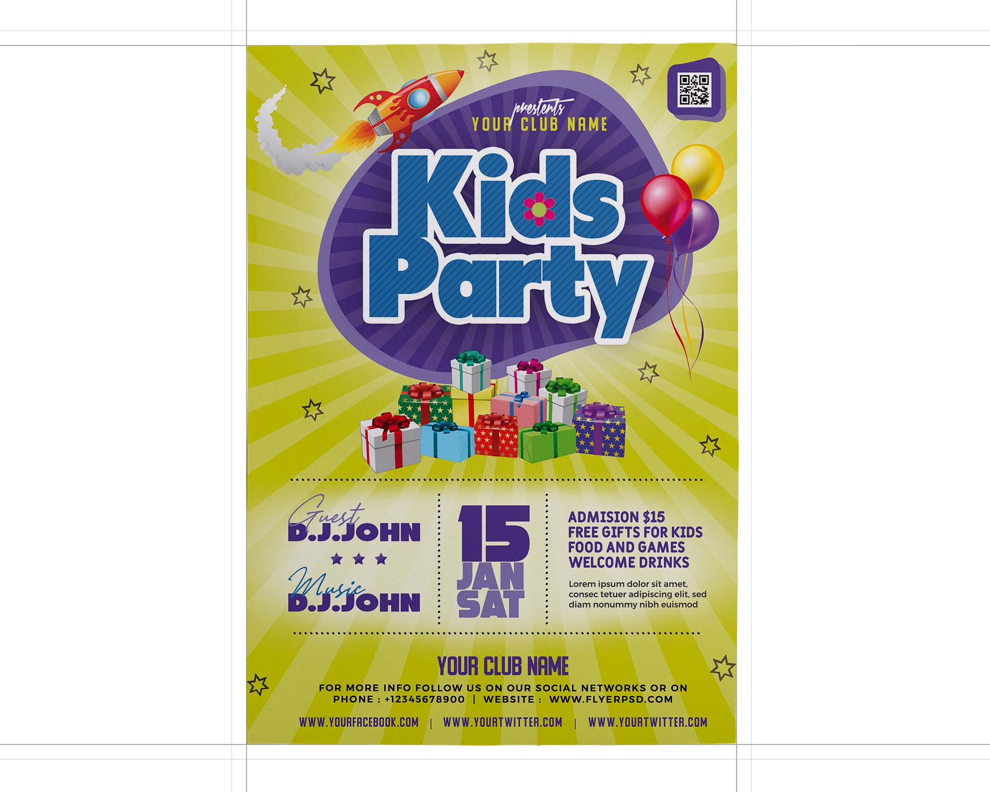 Kids Party Flyer Template 2