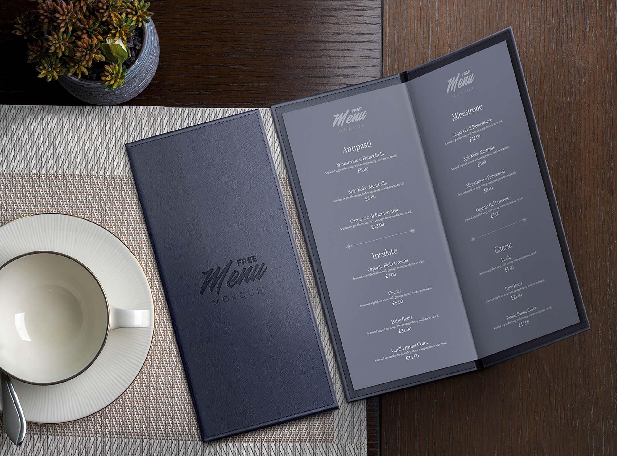 Leather Restaurant Menu Mockup