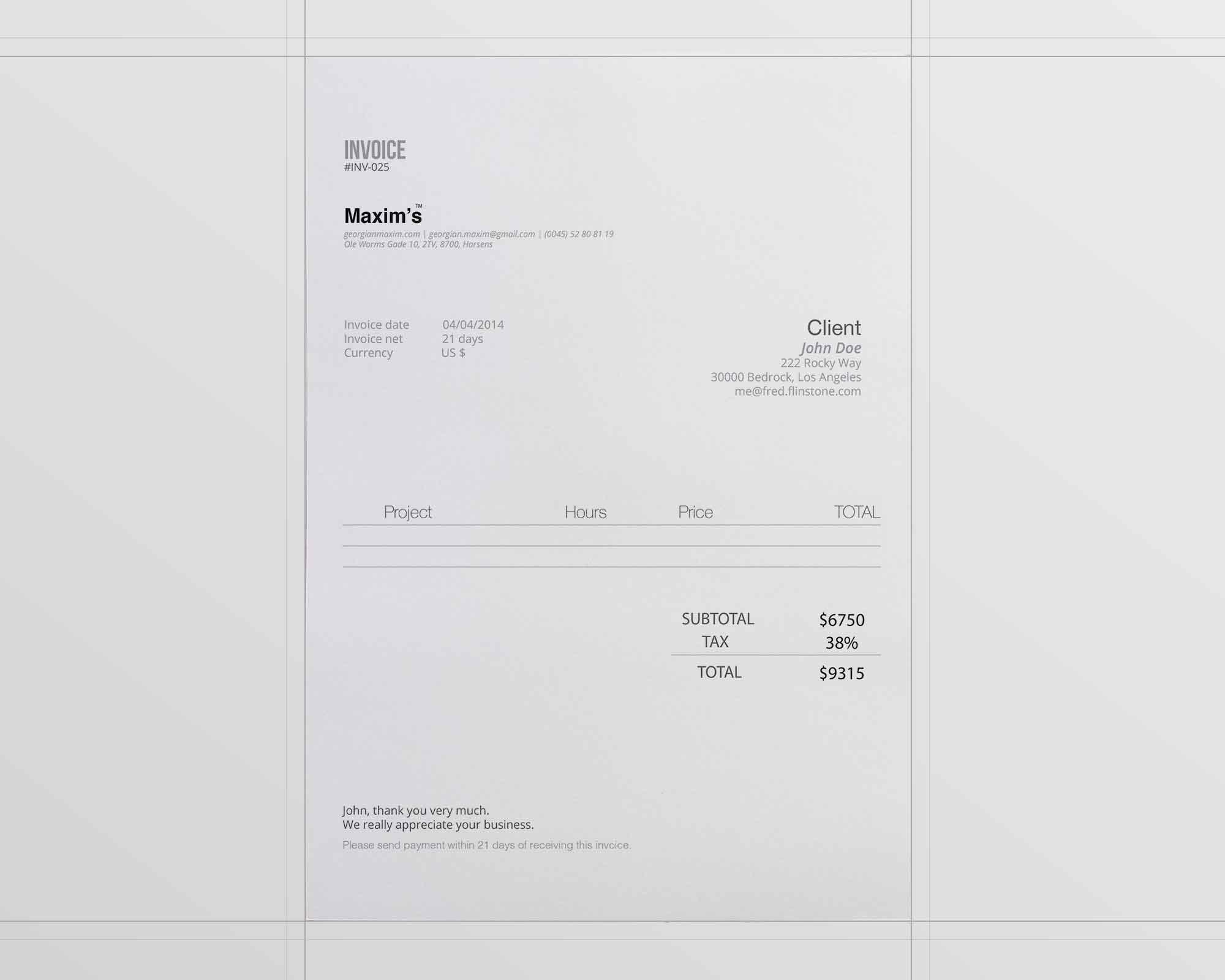 Minimal Invoice Template 2