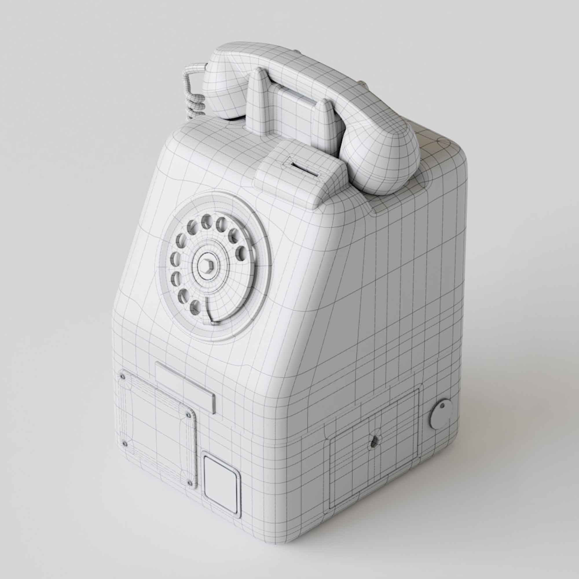 Retro Old Phone 3D Model 2