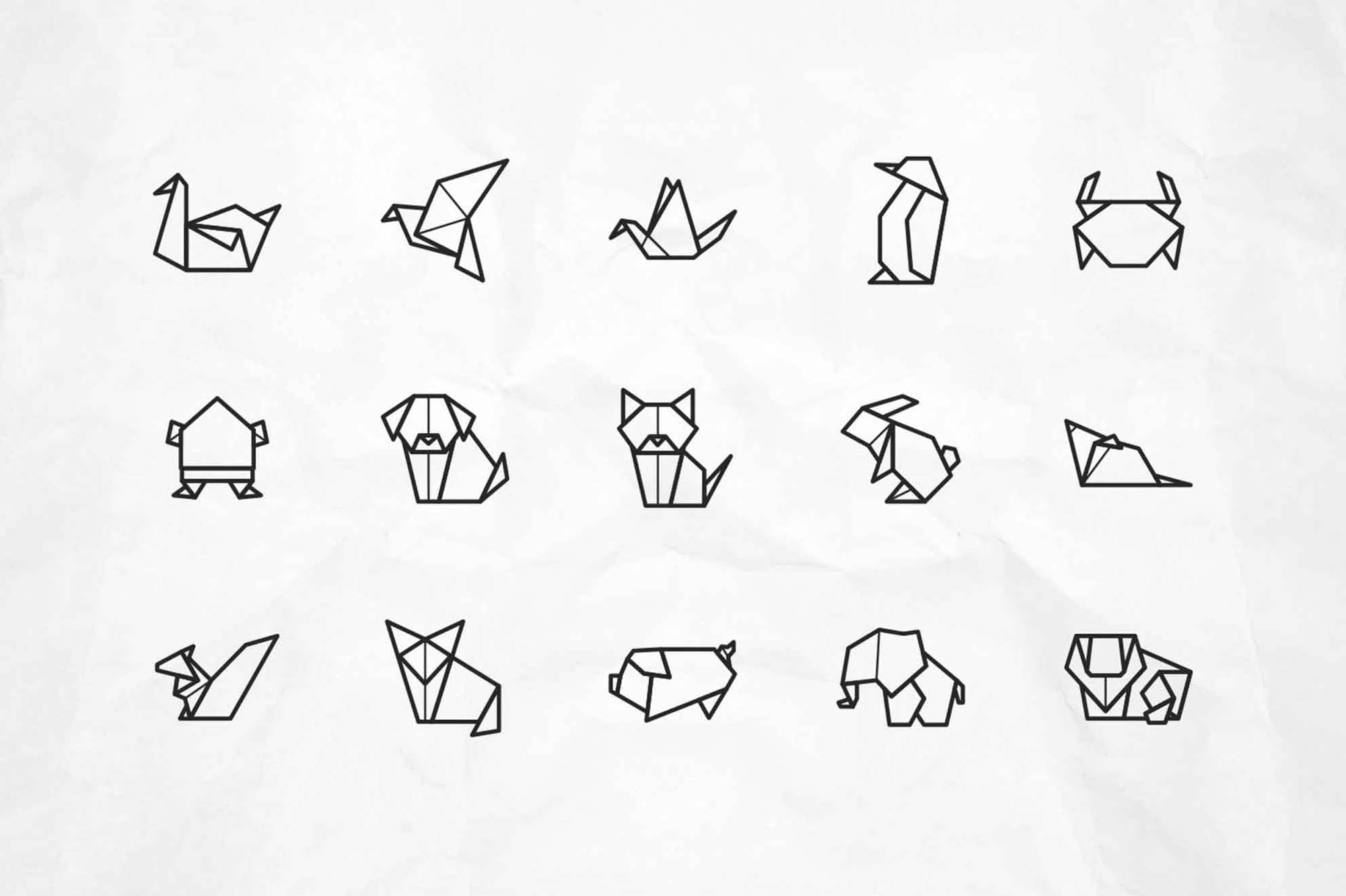 Origami Animal Vector Icons 2