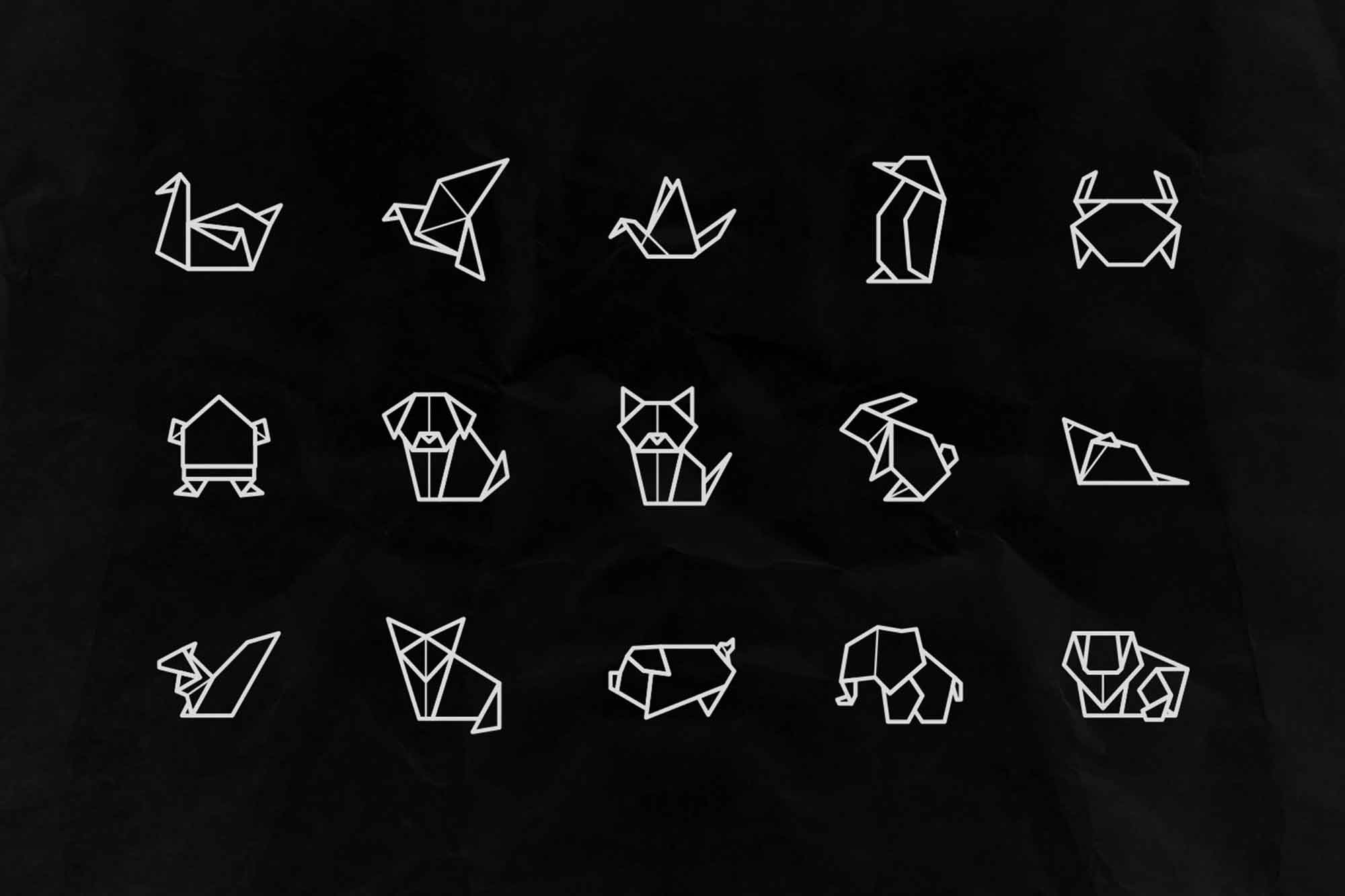 Origami Animal Vector Icons 3