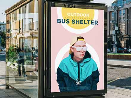 Outdoor Bus Shelter Advertisement Mockup