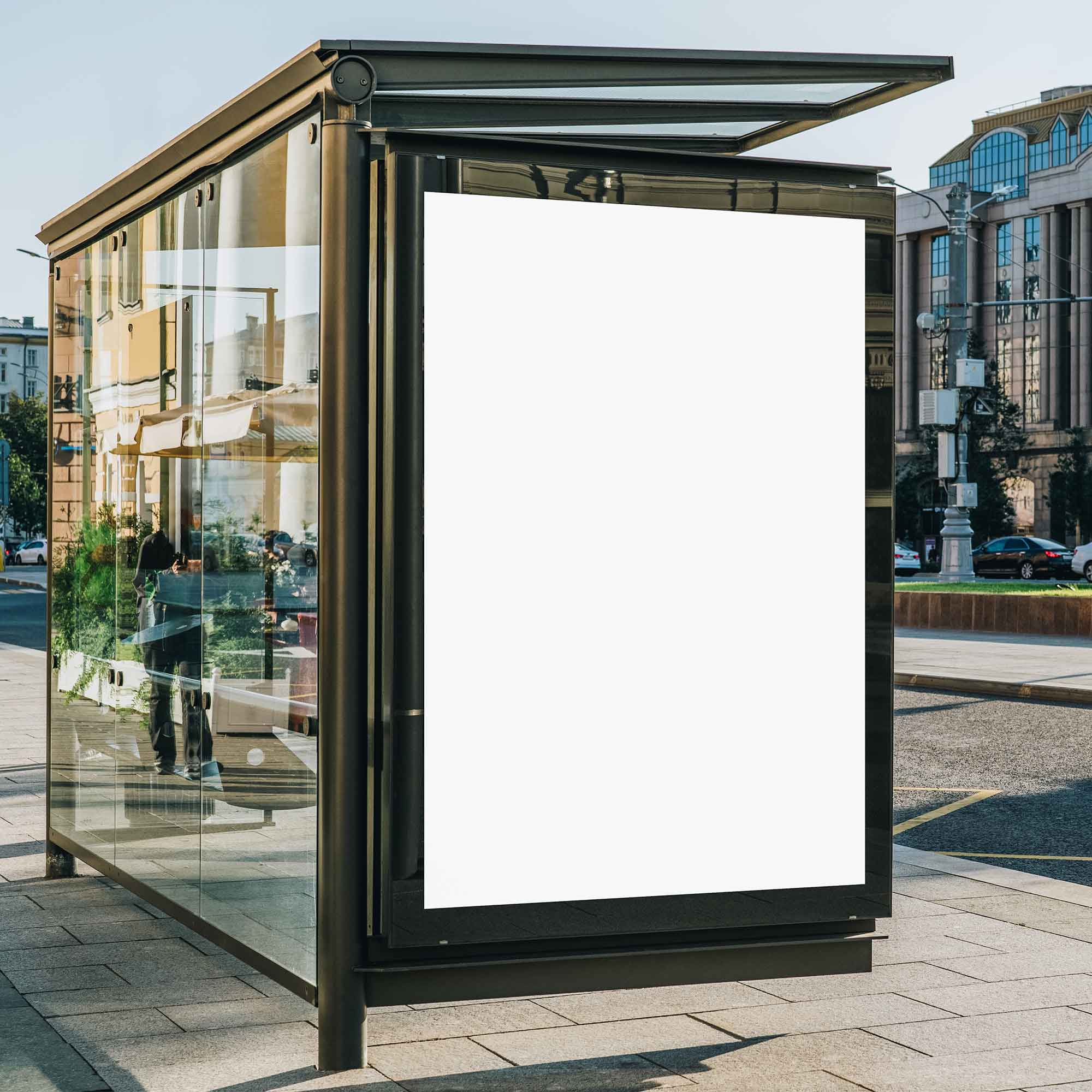 Outdoor Bus Shelter Advertisement Mockup 2