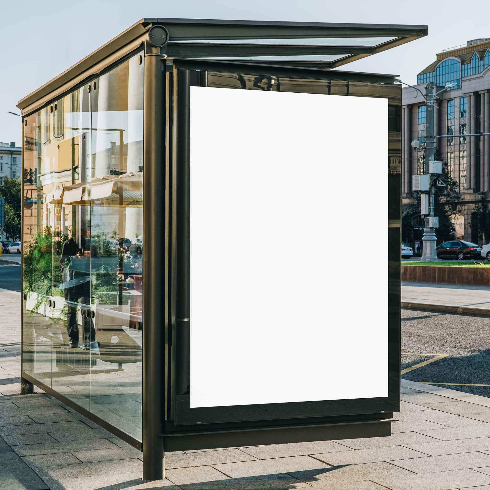 Outdoor Bus Shelter Advertisement Mockup 2