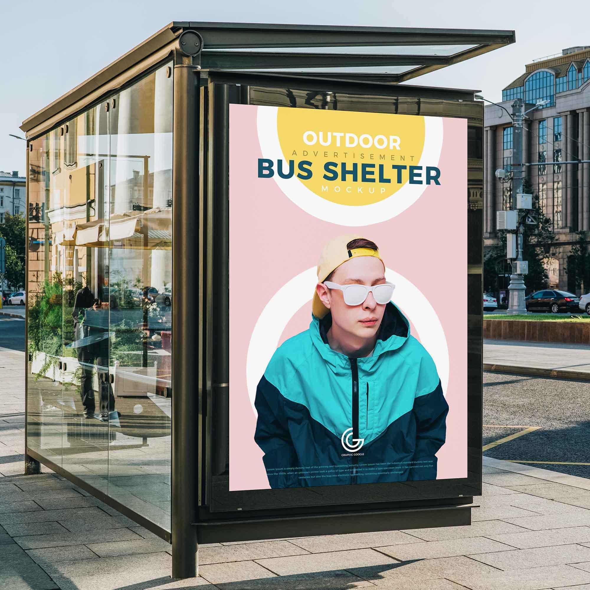 Outdoor Bus Shelter Advertisement Mockup