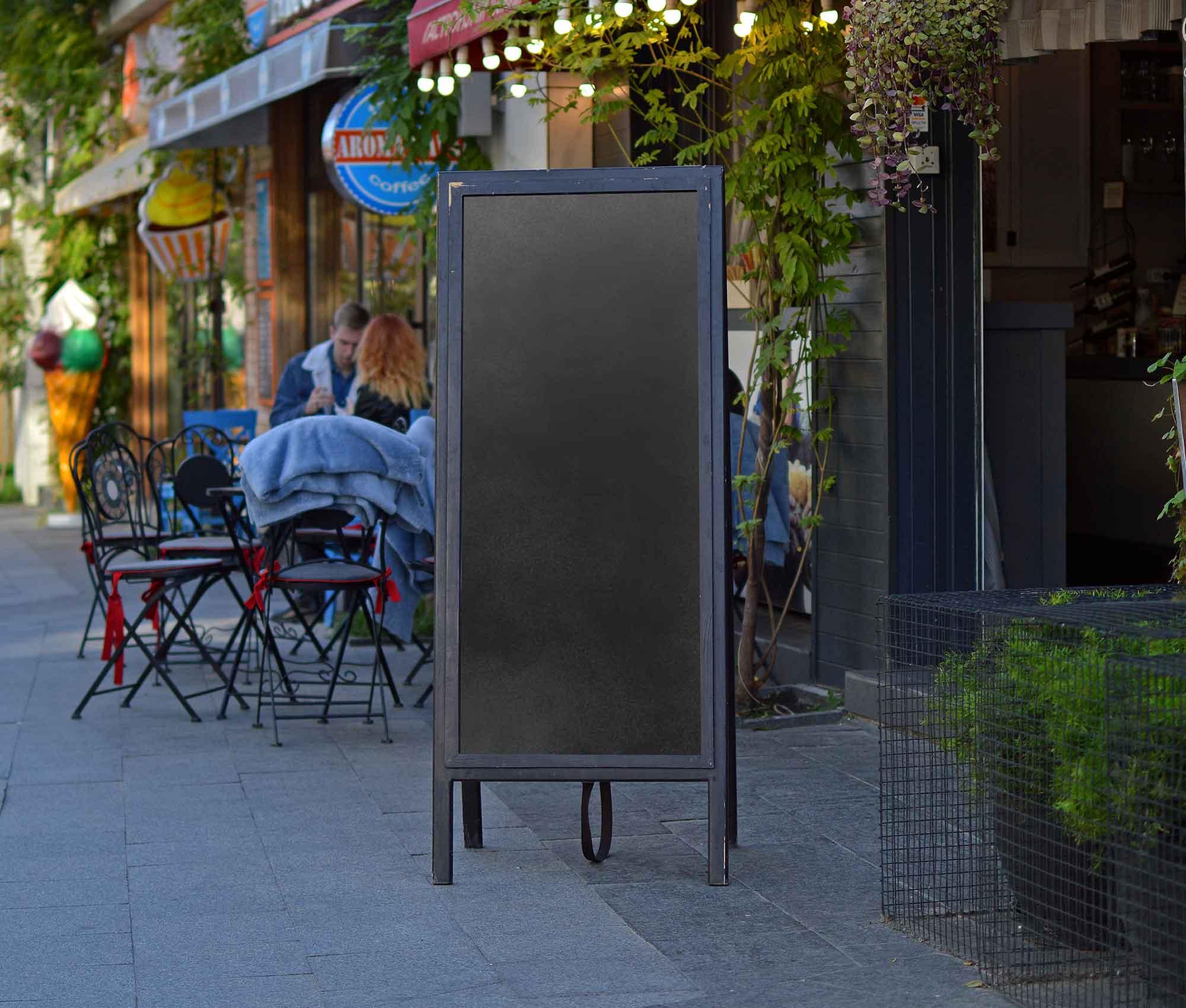 Outdoor Restaurant Menu Stand Board Mockup 2