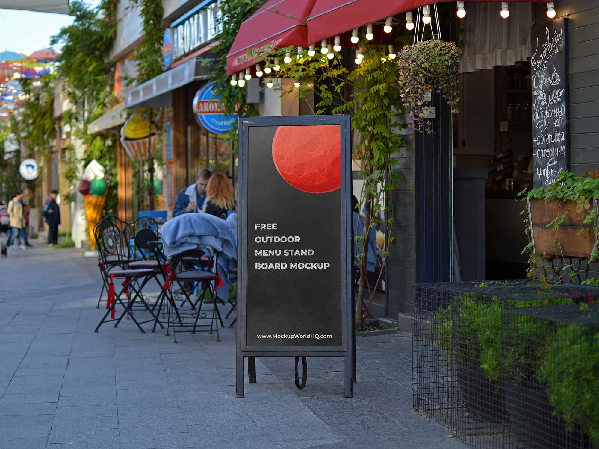 Outdoor Restaurant Menu Stand Board Mockup