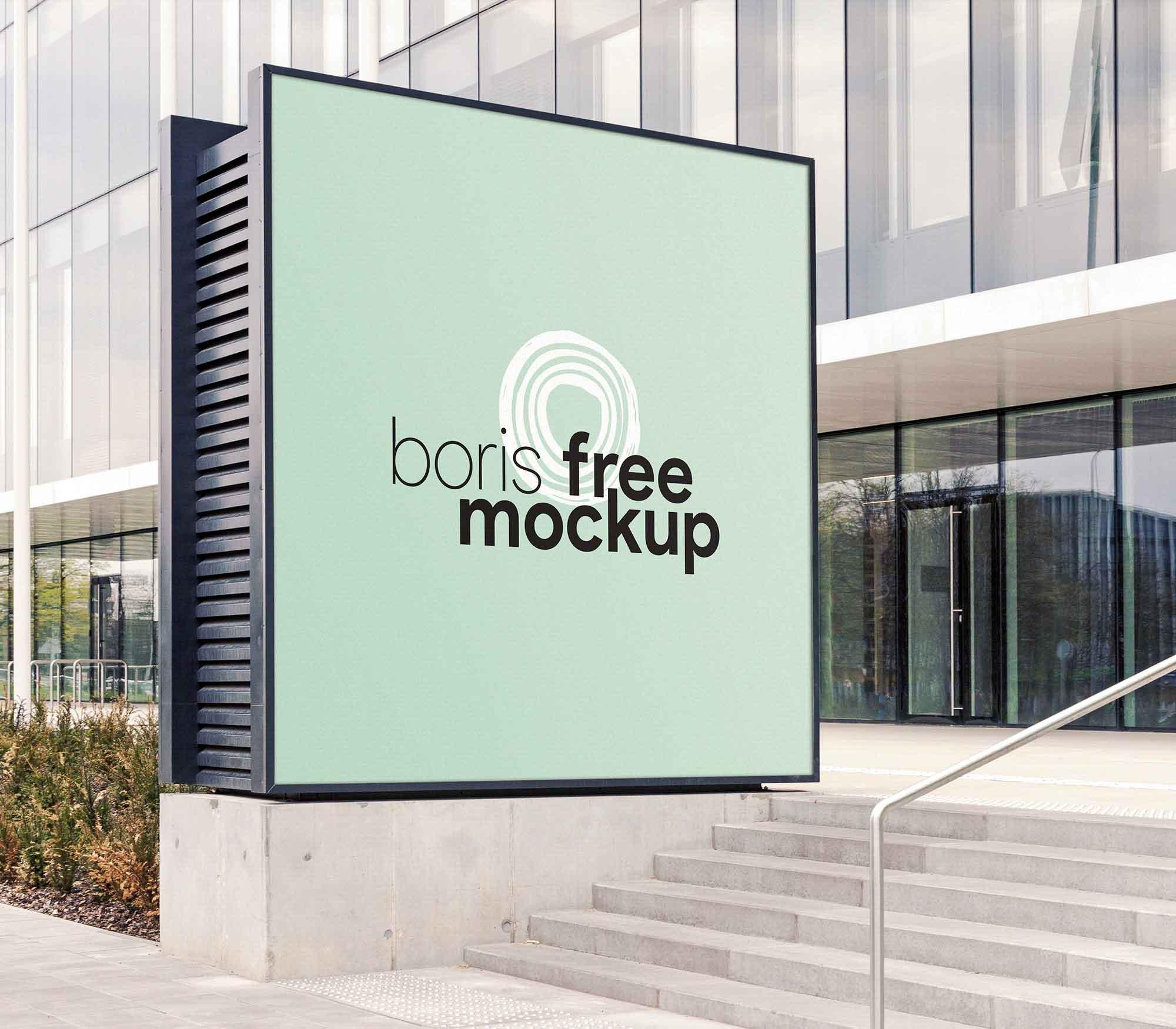 Outdoor Squarish Advertising Mockup 2