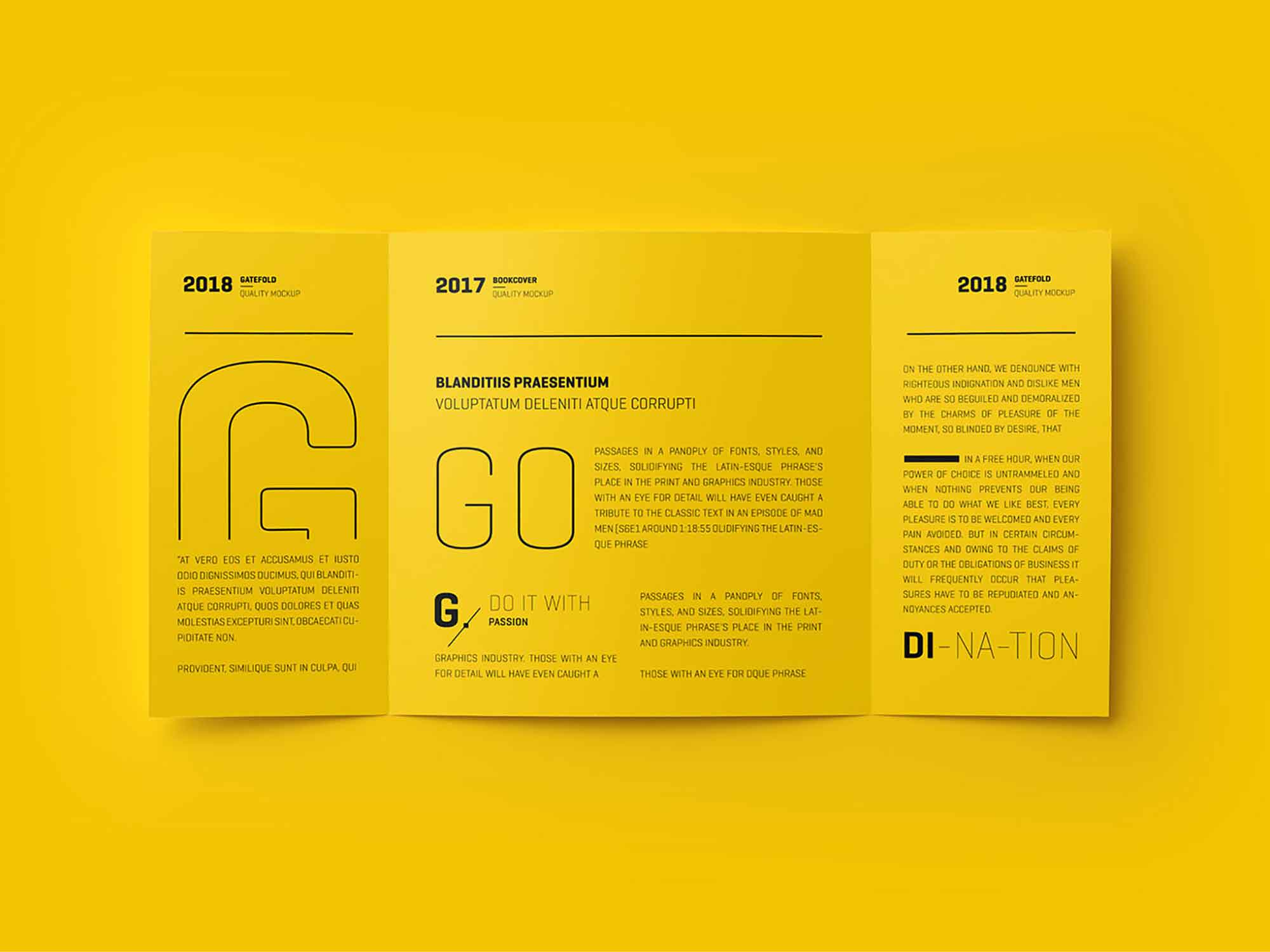 Single Gatefold Brochure Mockup 3