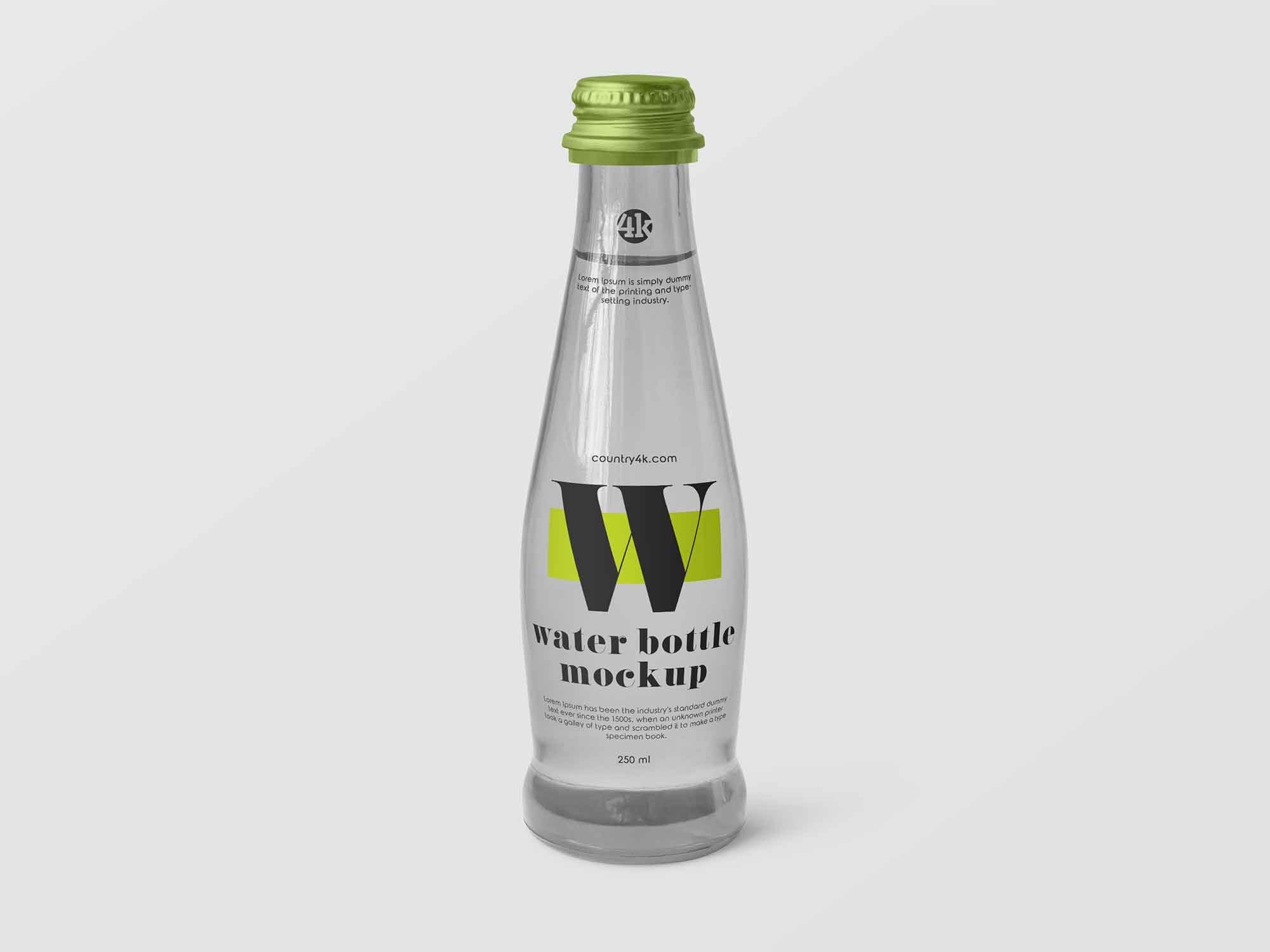 Small Glass Water Bottle Mockup