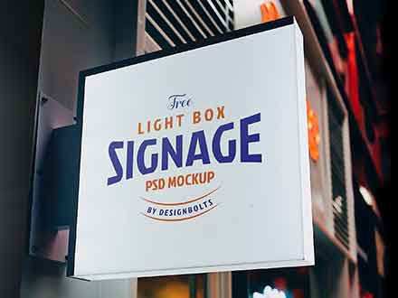 Square Light Box Signage Mockup