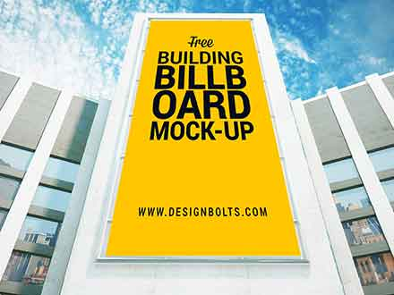 Vertical Advertising Building Billboard Mockup