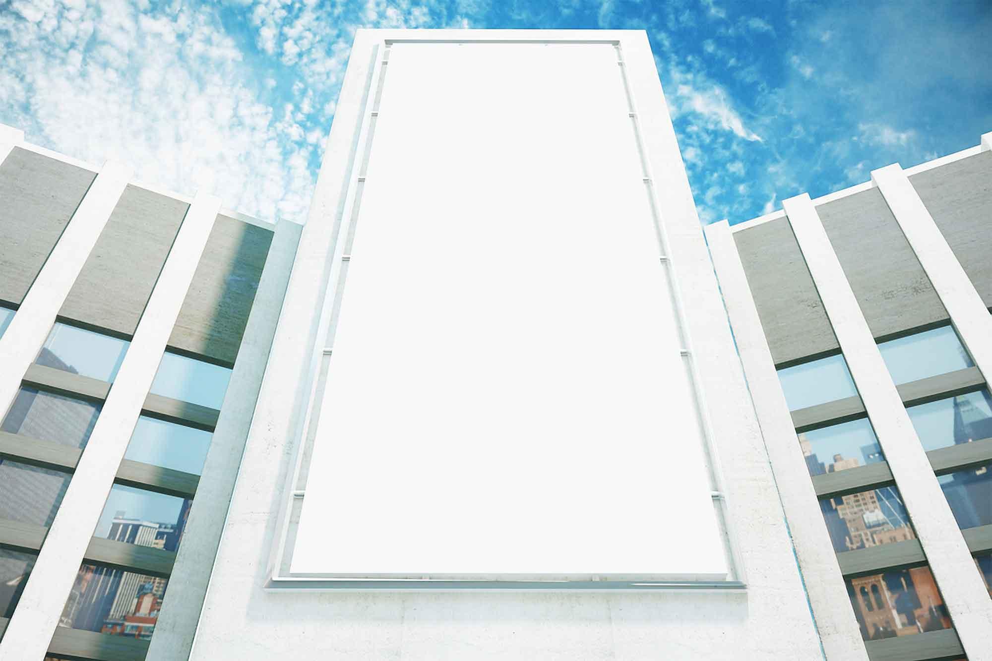 Vertical Advertising Building Billboard Mockup 2