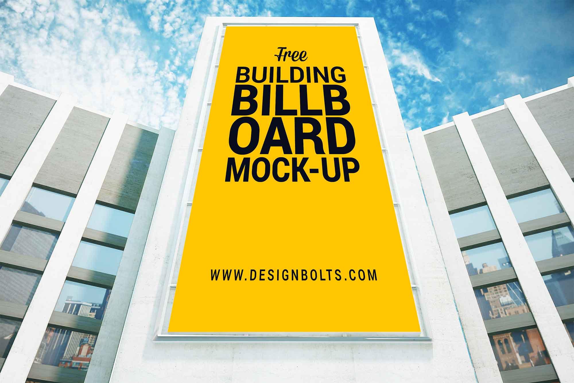 Vertical Advertising Building Billboard Mockup