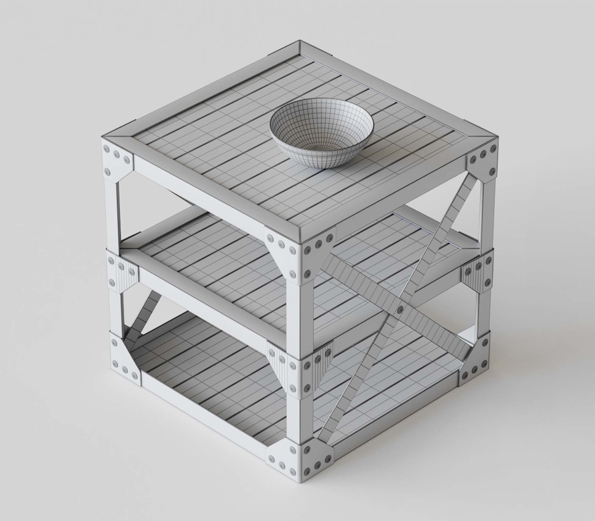 Vintage Table 3D Model 2