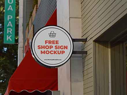 Wall Shop Sign Design Mockup
