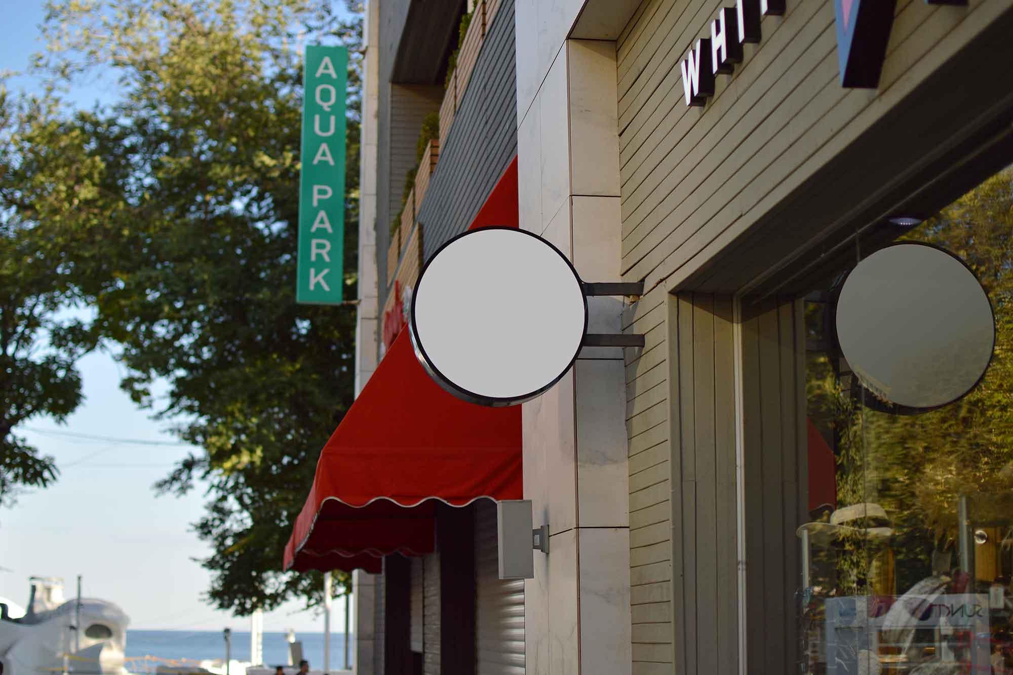 Wall Shop Sign Design Mockup 2
