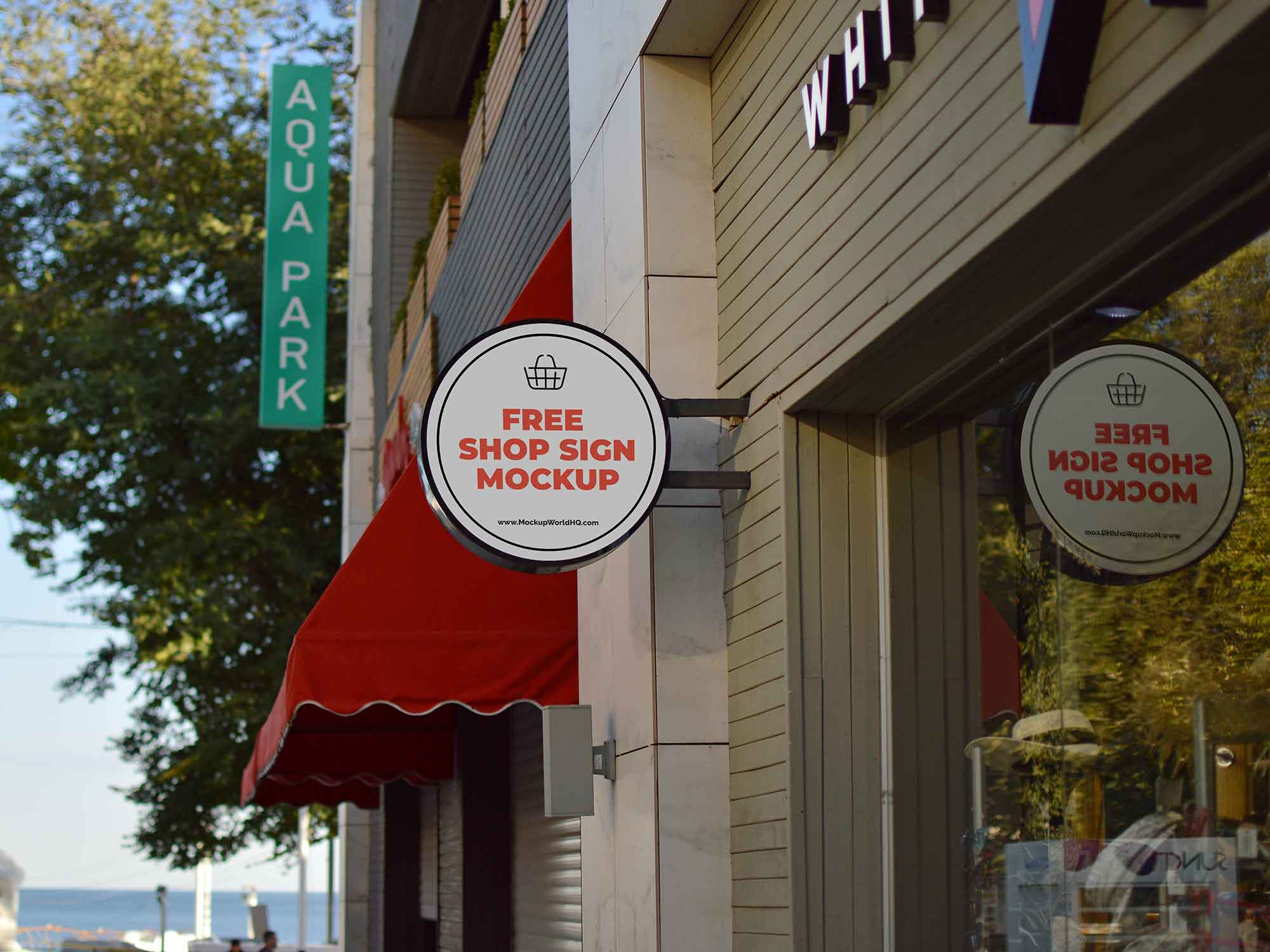 Wall Shop Sign Design Mockup