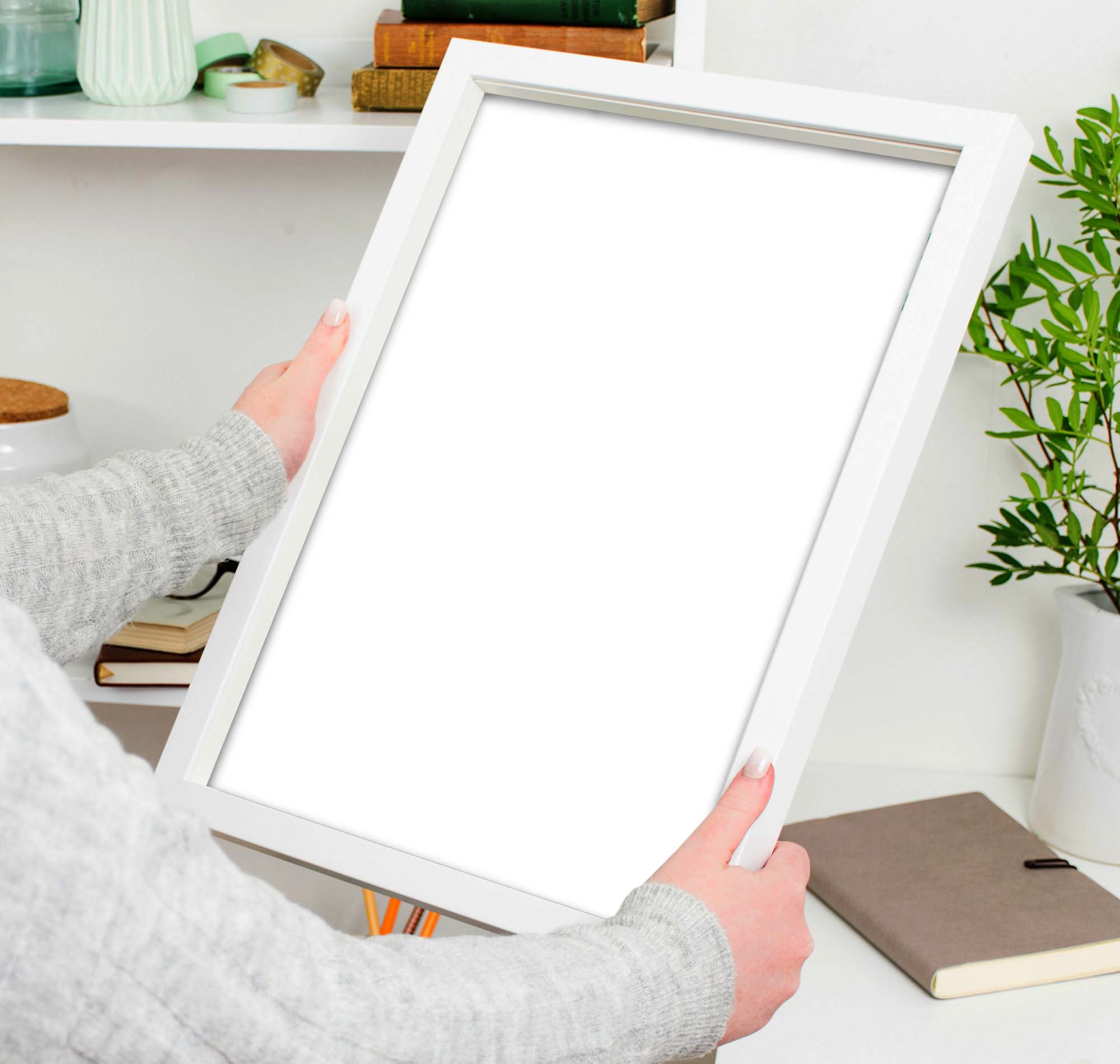 Woman Holding Poster Frame Mockup 2