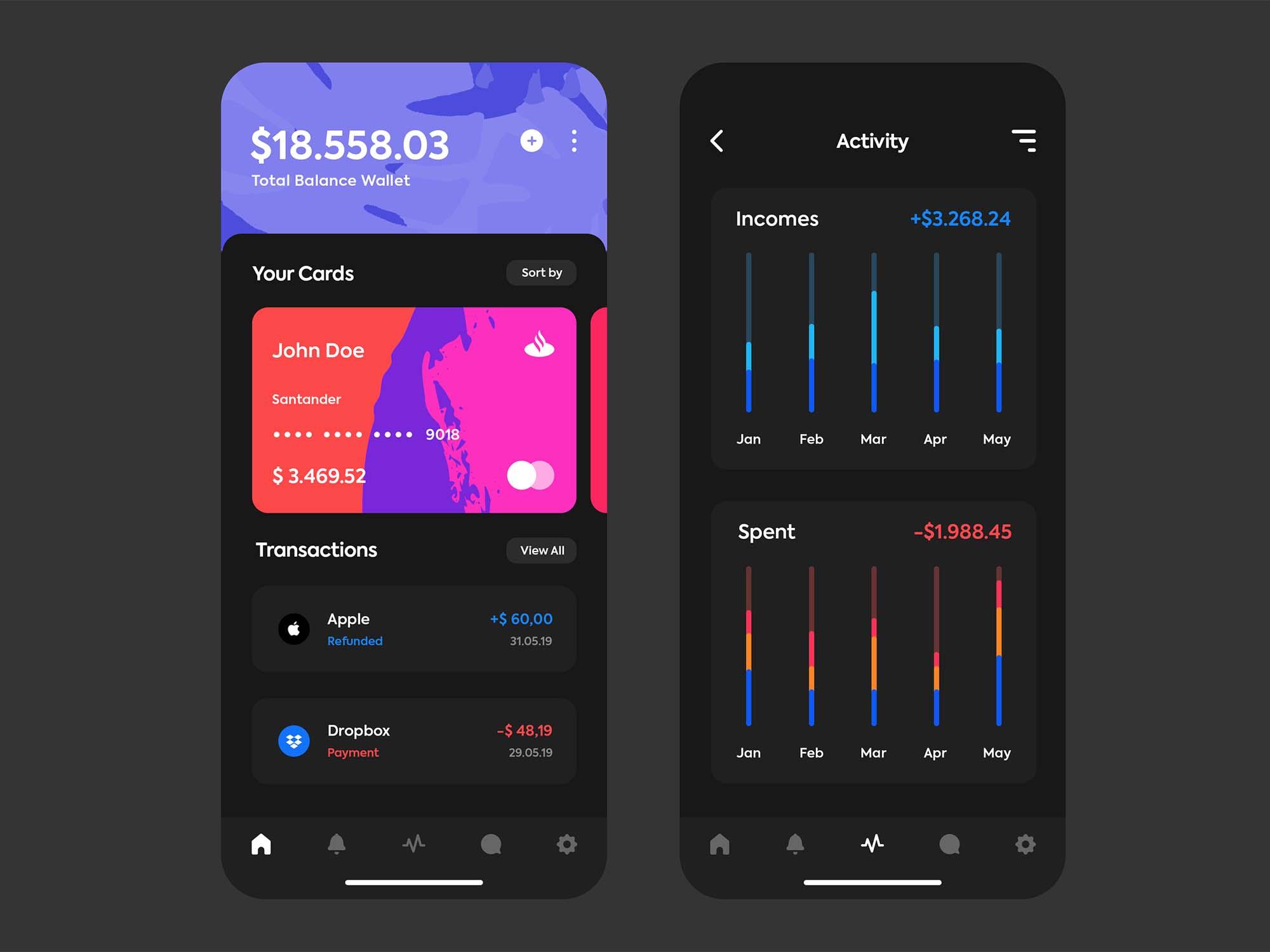 iOS Wallet App Template 3