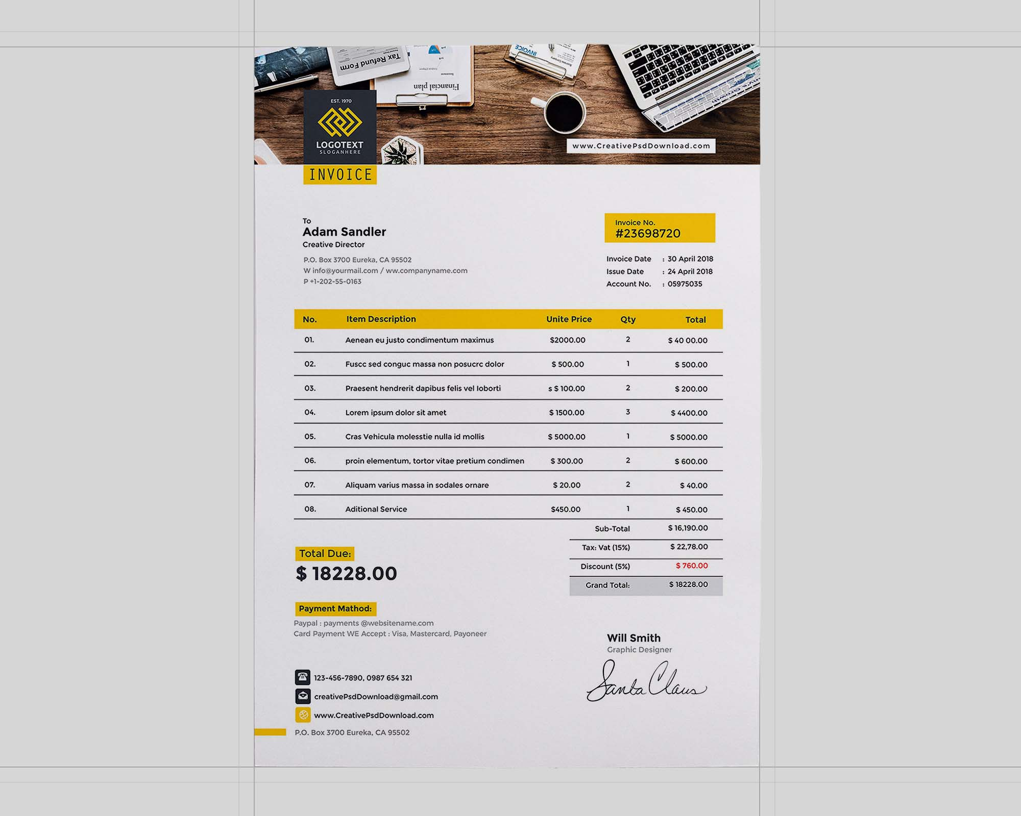 A4 Invoice Template 2