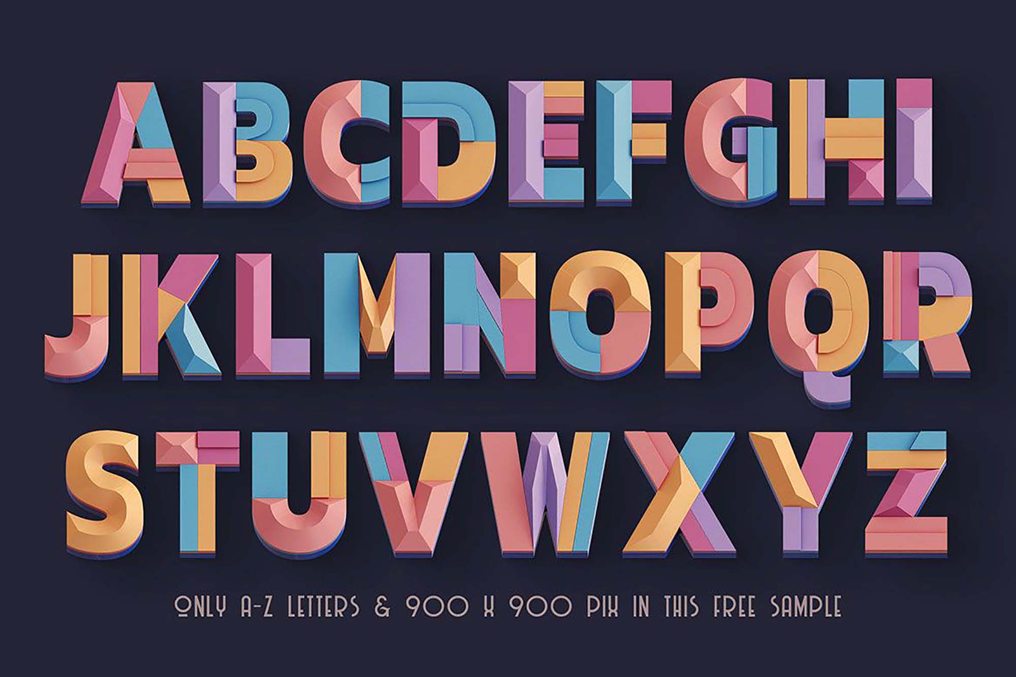 Deco Geometry 3D Lettering 1