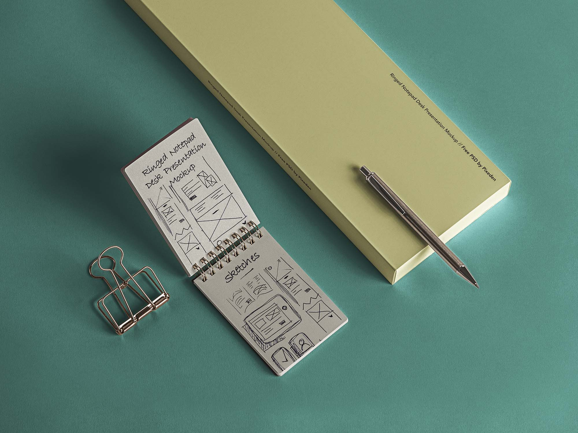 Desk Ringed Notepad Mockup