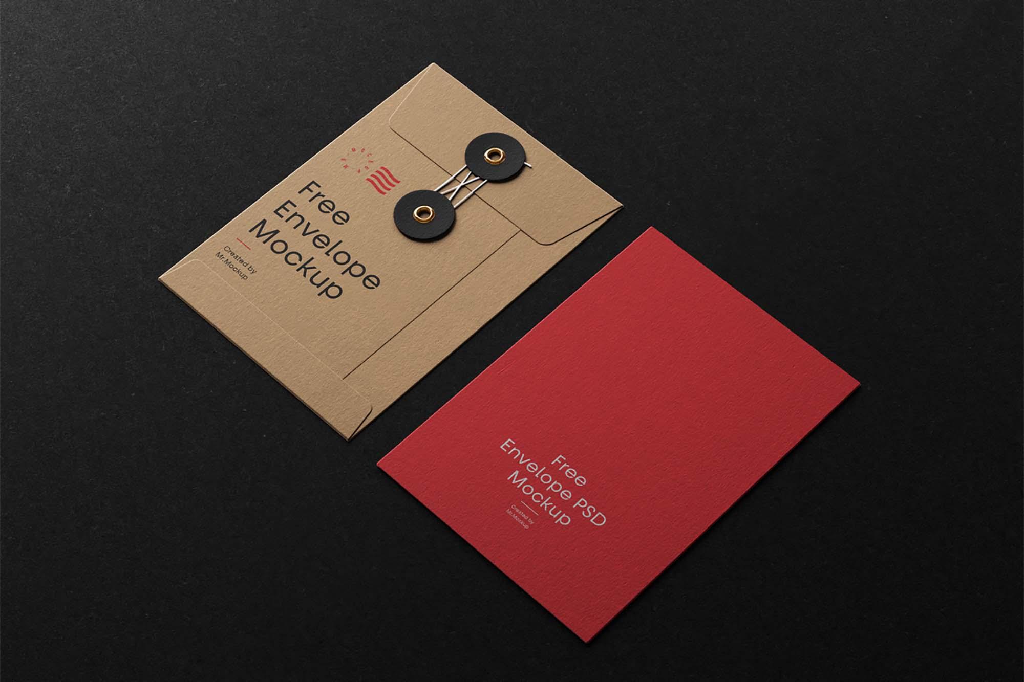 Envelope With String Mockup