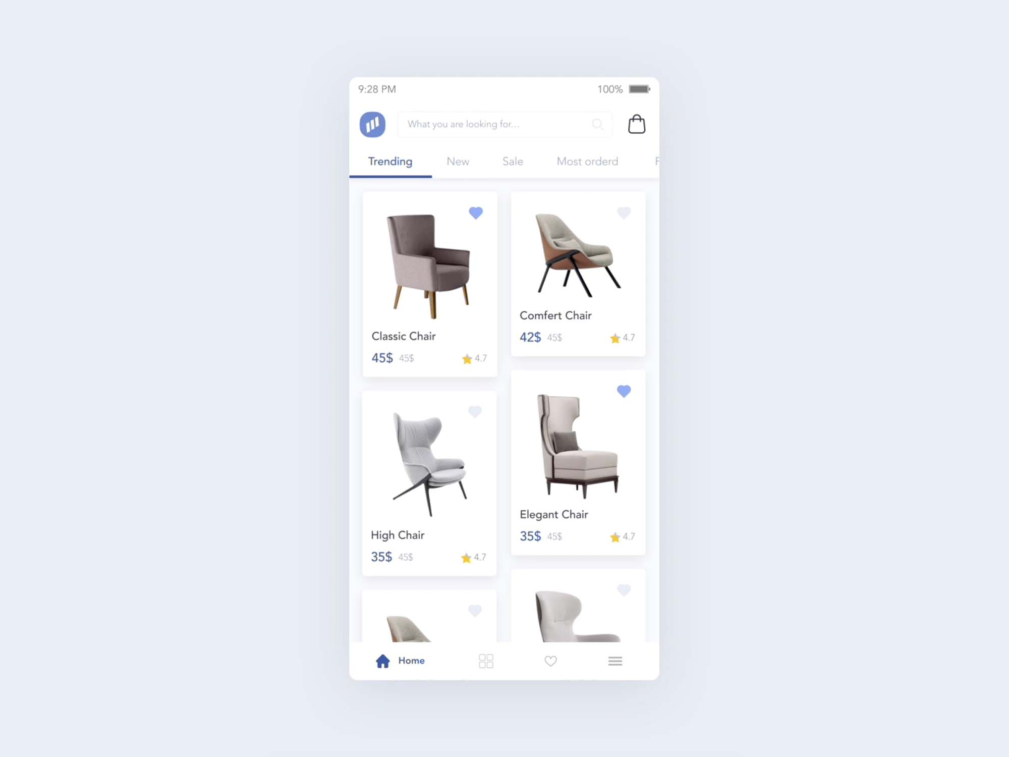 Furniture Store App UI Template 1