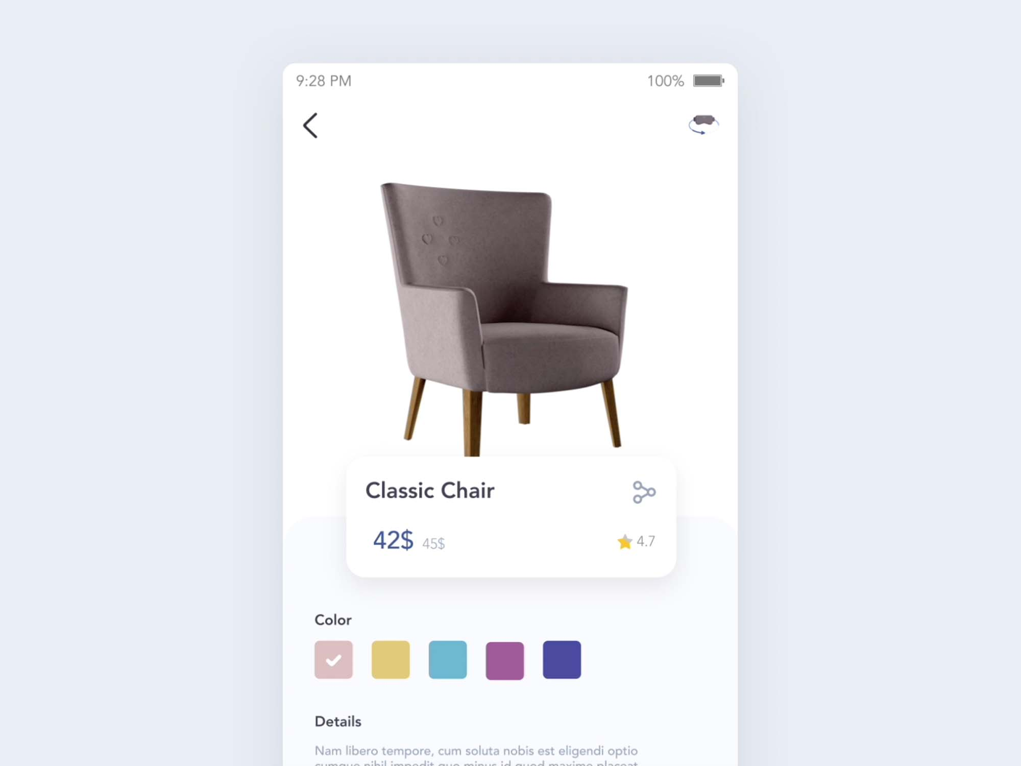 Furniture Store App UI Template 2